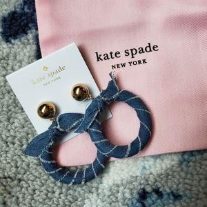 Kate Spade Tie It On Denim Hoop Earrings NEW